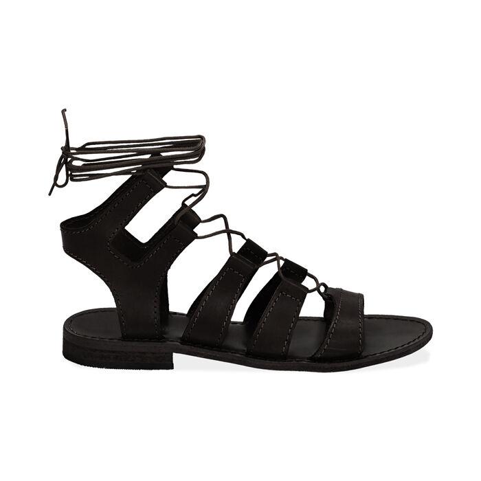 Sandali gladiator neri in pelle di vacchetta, Primadonna, 178100348VANERO035