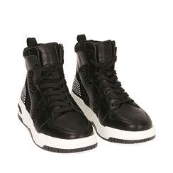 Sneakers nere, zeppa 4 cm , Primadonna, 182818126EPNERO035, 002a