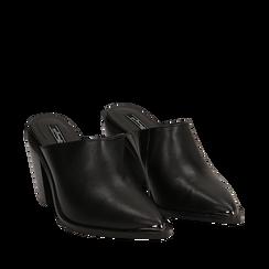 Mules nere in eco-pelle, tacco 8 cm , Scarpe, 142708158EPNERO036, 002a
