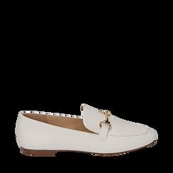Mocassins blanc simili cuir, Chaussures, 154939181EPBIAN035, 001a