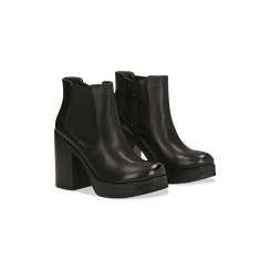 Chelsea Boots neri, suola in gomma e tacco 10 cm, Scarpe, 129300511EPNERO, 002 preview
