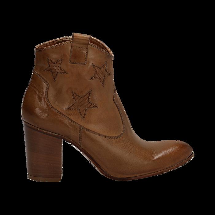 Ankle boots in pelle colore cuoio, con stelle ricamate, tacco 7,5 cm, Scarpe, 137725907PECUOI035