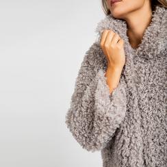 Pelliccia grigia corta eco-shearling, manica lunga, Abbigliamento, 12B432302FUGRIG, 005 preview