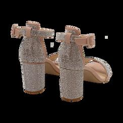 Sandalias en microfibra con pedrería color nude, tacón 7,50 cm, OPORTUNIDADES, 154913226MPNUDE035, 004 preview