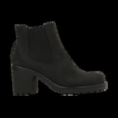 Chelsea Boots neri in nabuk, tacco medio 7 cm, Primadonna, 120800819NBNERO037, 001 preview