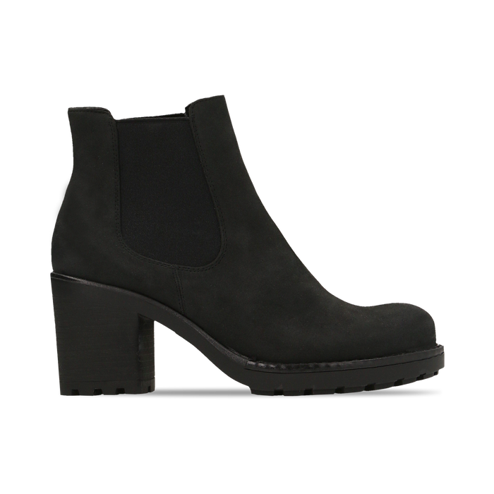 Chelsea Boots neri in nabuk, tacco medio 7 cm, Primadonna, 120800819NBNERO037