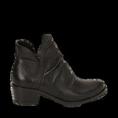 Camperos neri in pelle, tacco 5 cm , Scarpe, 141612461PENERO036, 001a