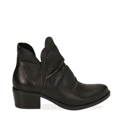 Camperos neri in pelle, tacco 5 cm , Primadonna, 141612461PENERO037, 001a