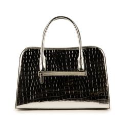 Bolsa de mano en eco-piel con estampado de cocodrilo color plateado, Primadonna, 155702495CCARGEUNI, 003 preview