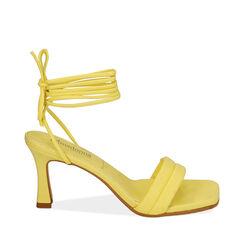 Sandali lace-up gialli, tacco 7,5 cm , 17L800196EPGIAL035, 001a