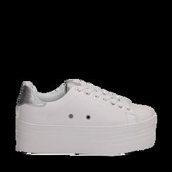 Sneakers bianche in eco-pelle dettaglio argento e suola platform, Scarpe, 132602020EPBIAR036, 001a