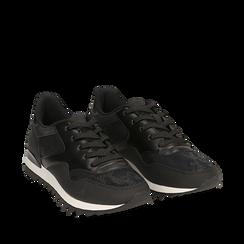 Sneakers nere in eco-pelle con dettagli snake print, Scarpe, 142600107EPNERO035, 002a
