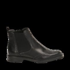 Chelsea boots neri in vera pelle, Stivaletti, 147729508PENERO036, 001a