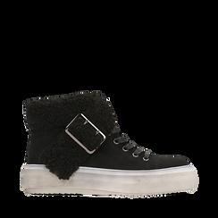 Sneakers nere con risvolto in eco-shearling, 124110063MFNERO036, 001a