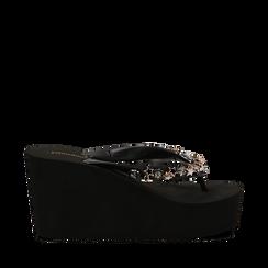 Zeppe infradito nere in pvc, zeppa 8,50 cm, Primadonna, 13C119507PVNERO035, 001a