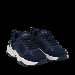 Dad shoes blu in microfibra, zeppa 4,50 cm, Sneakers, 142619462MFBLUE035, 002a