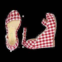 Sandali bianco/rossi in tessuto Vichy, zeppa 13 cm, Scarpe, 132117220TSBIRO, 003 preview
