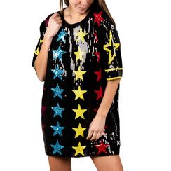 Minidress stellato nero con paillettes, 15B411408TSNEROUNI, 001a