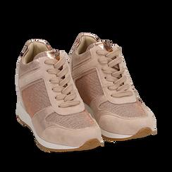 Sneakers oro rosa glitter con zeppa, Scarpe, 152821522GLRAOR035, 002a