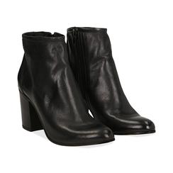 Ankle boots in vera pelle neri con tacco in legno 8 cm, Scarpe, 137725901PENERO035, 002a