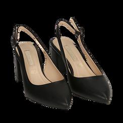 Slingback nere, tacco 6,5 cm, Scarpe, 152123920EPNERO037, 002a