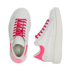 Sneakers bianco/fuxia in pelle, Primadonna, 17L600102PEBIFU035, 003 preview