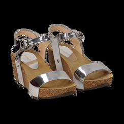 Sandali argento effetto specchio, zeppa in sughero 6 cm ,