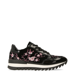 Sneakers nere con ricami floreali velluto, Primadonna, 121617734VLNERO036, 001a