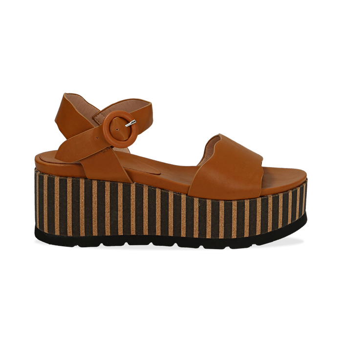Sandali platform cuoio in eco-pelle, zeppa optical 7,50 cm , Primadonna, 134901231EPCUOI036