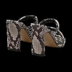Sandali con punta quadrata nero/bianchi in eco-pelle, effetto snake skin, tacco 10 cm, Sandali con tacco, 131785322PTNEBI035, 004 preview