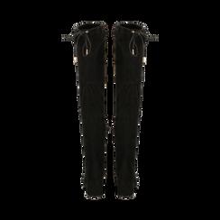 Stivali overknee neri in microfibra, tacco 9,50 cm , Primadonna, 164982302MFNERO037, 003 preview