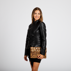 Pochette bustina leopard in microfibra con oblò dorati, Primadonna, 123308604MFLEOPUNI, 004 preview