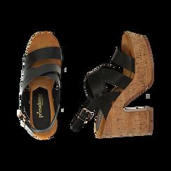 Sandali neri in eco-pelle, tacco in sughero 11 cm, Saldi Estivi, 132173071EPNERO035, 003 preview