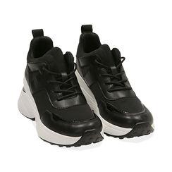 Sneakers nere in tessuto tecnico, zeppa 9 cm , Primadonna, 177590504TSNERO035, 002 preview
