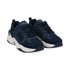 Dad shoes blu in microfibra, zeppa 4,50 cm, Primadonna, 142619462MFBLUE036, 002 preview