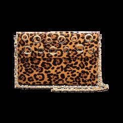 Pochette bustina leopard in microfibra con oblò dorati, Saldi, 123308604MFLEOPUNI, 003 preview