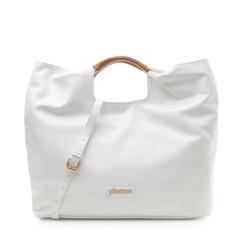 Maxi-bag bianca in eco-pelle, con sacca interna, Borse, 132382424EPBIANUNI, 001a