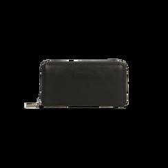 Portafoglio nero in ecopelle  con 14 vani, Borse, 122200896EPNEROUNI, 001 preview