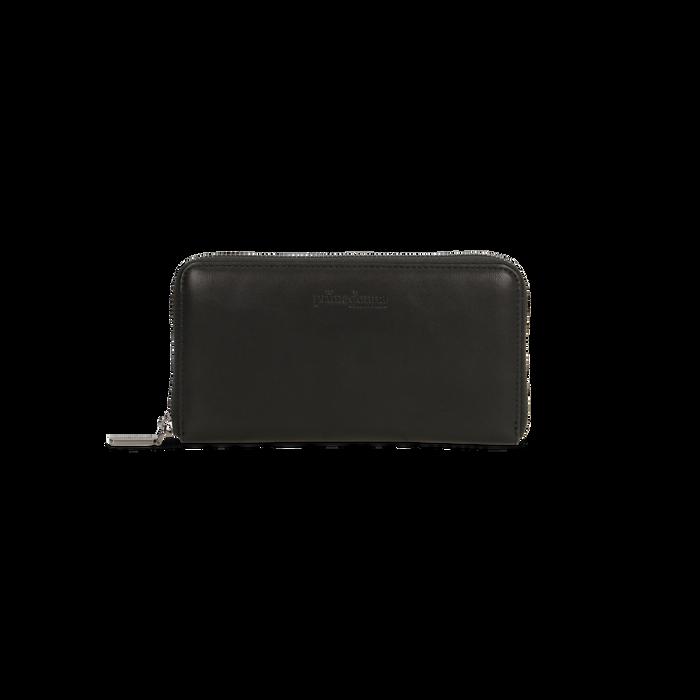 Portafoglio nero in ecopelle  con 14 vani, Borse, 122200896EPNEROUNI