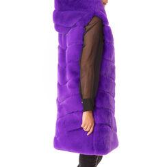Gilet violet en fourrure écologique, Primadonna, 18B420543FUVIOLM, 002a