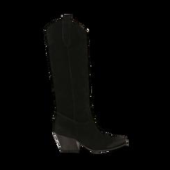 Camperos neri in camoscio, 5,50 cm , Primadonna, 16A500902CMNERO035, 001a