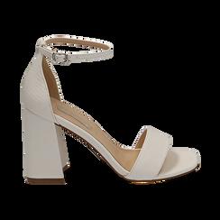 Sandali bianchi in tejus, Scarpe, 154821432EJBIAN039, 001 preview