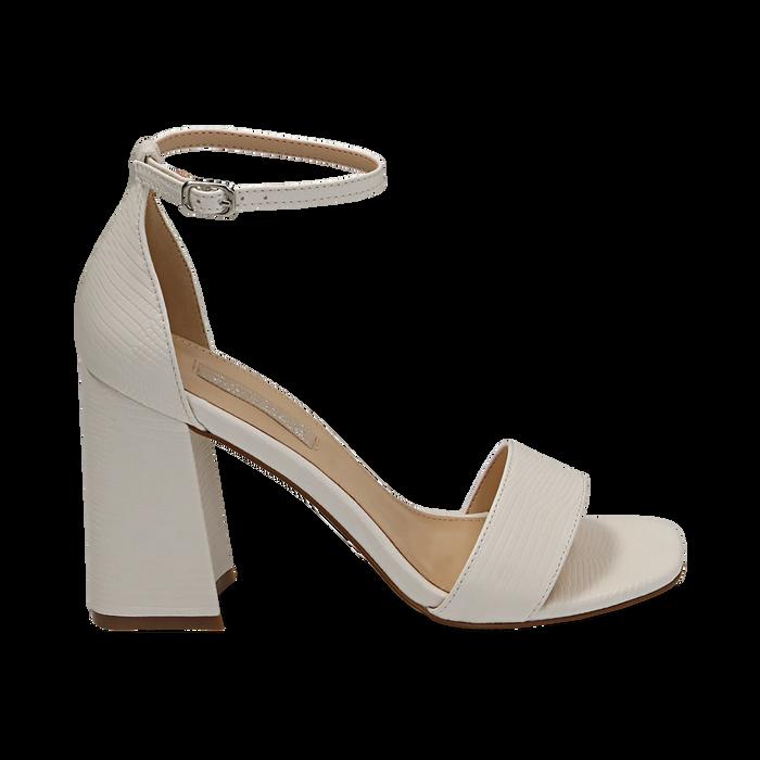 Sandali bianchi in tejus, Scarpe, 154821432EJBIAN039