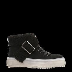 Sneakers nere con risvolto in eco-shearling, 124110063MFNERO035, 001a