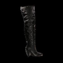Stivali sopra il ginocchio gambale largo, tacco a cono 7,5 cm, Primadonna, 124911289EPNERO035, 001a