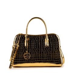Bolsa de mano en eco-piel con estampado de cocodrilo color dorado, Primadonna, 155702495CCOROGUNI, 001a