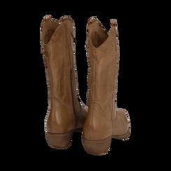Camperos cuoio in pelle, tacco 4 cm, Scarpe, 157732902PECUOI038, 003 preview