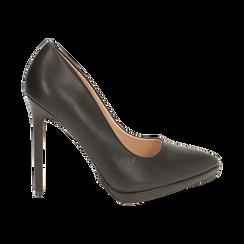Salones negro con meseta, tacón 12 cm, Zapatos, 162106051EPNERO036, 001 preview