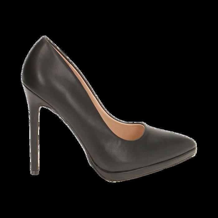 Salones negro con meseta, tacón 12 cm, Zapatos, 162106051EPNERO036