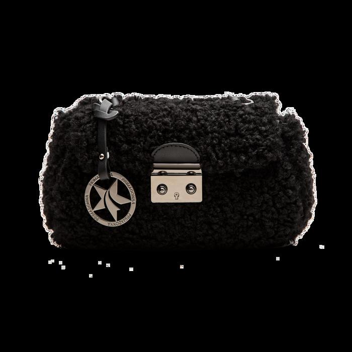 Borsa a tracolla nera in eco shearling con maxi tracolla, Primadonna, 125700306EPNEROUNI